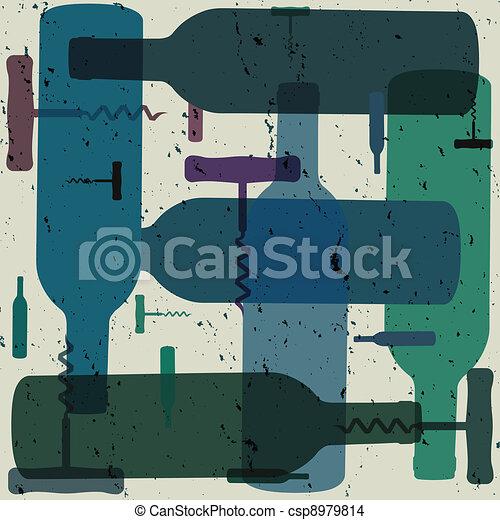Botella de vino y abridores de fondo - csp8979814