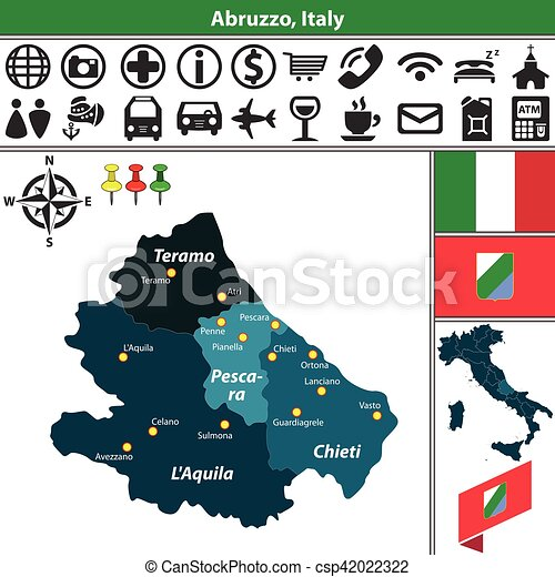 Abruzzo with regions italy Vector map of abruzzo with vector