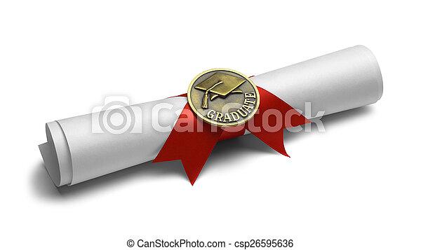 absolwent, woluta, dyplom - csp26595636