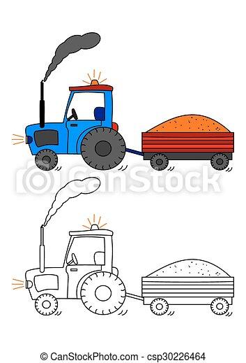Abstellgleis, färbung, -, buch, traktor. Färbung, kinder ...