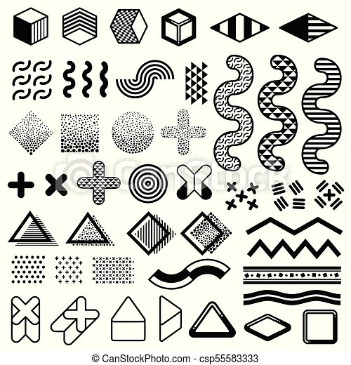 Abstract 1980s Fashion Vector Elements For Memphis Design Modern Graphic Shapes For Trendy Patterns Trendy Geometric