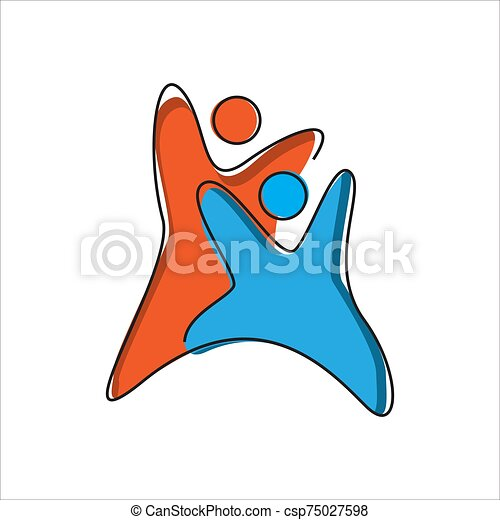 Abstract 2 Two People Logo Template Vector Design The Concept Of Motivated People Unity Symbol With Hands Together