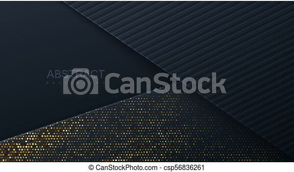 Abstract 3d background with black paper layers. - csp56836261