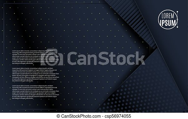 Abstract 3d background with black paper layers. Vector geometric illustration of sliced shapes. Graphic design element. Minimal design. Decoration for business presentation. - csp56974055