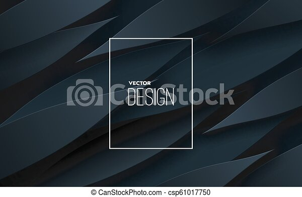 Abstract 3d background with black paper layers. - csp61017750