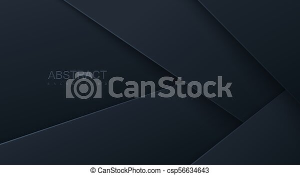 Abstract 3d background with black paper layers. - csp56634643