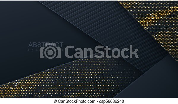 Abstract 3d background with black paper layers. - csp56836240