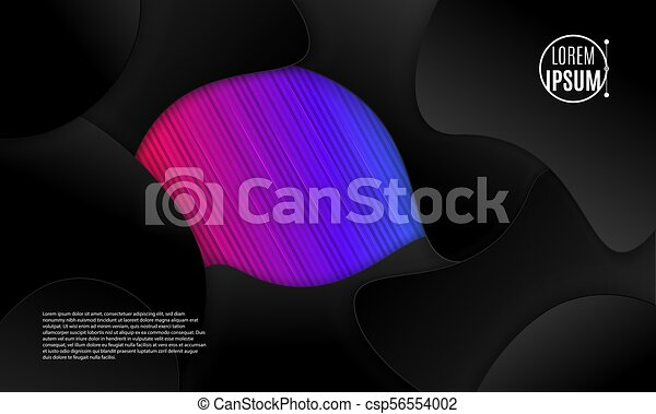 Abstract 3d background with black paper layers. Vector geometric illustration of sliced shapes. Graphic design element. Minimal design. Decoration for business presentation. - csp56554002