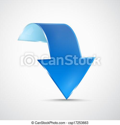 Abstract 3d Blue Arrow Icon - csp17253663
