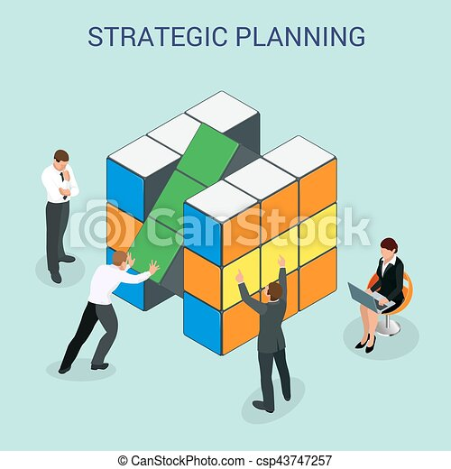 Abstract 3d cubes wall infographic design elements layout template for presentation strategic planning or Startup business plan vector illustration. For infographics and design - csp43747257