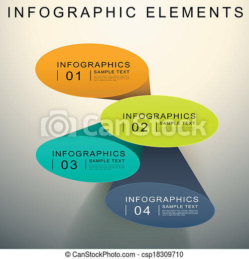 abstract 3d Elliptical cylinder infographics - csp18309710