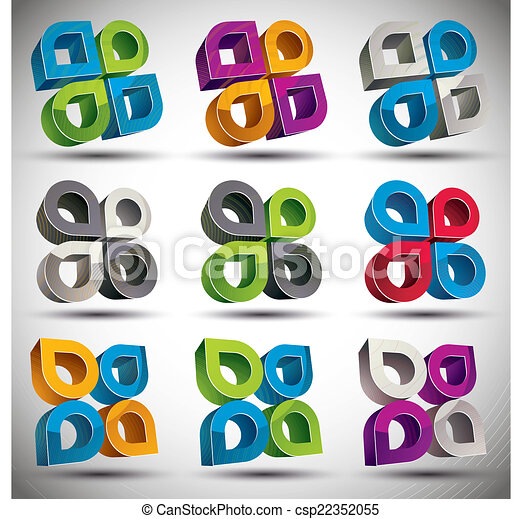 Abstract 3d geometric icon, vector. - csp22352055