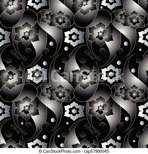 Abstract 3d Paisley Seamless Pattern Dark Black Vector Floral