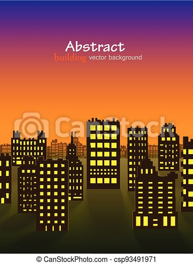 Abstract 3D Paper City night background - csp93491971
