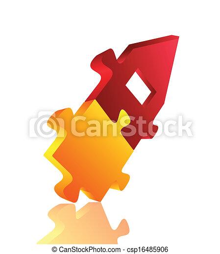 Abstract 3D puzzle design element . Vector - csp16485906