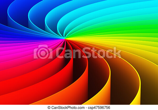 Abstract 3D rainbow spiral background - csp47596756