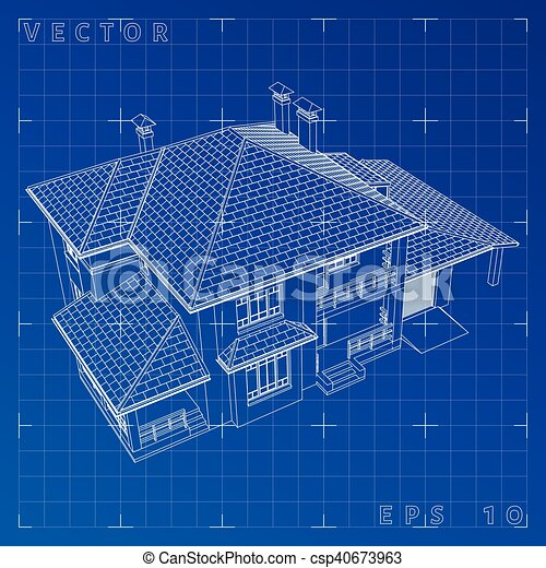 abstract 3d render of building wireframe vector illustration eps 10