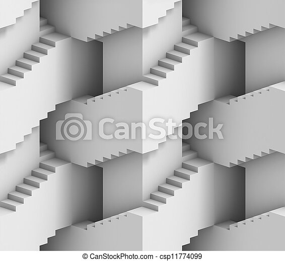 abstract 3d stairs maze - csp11774099