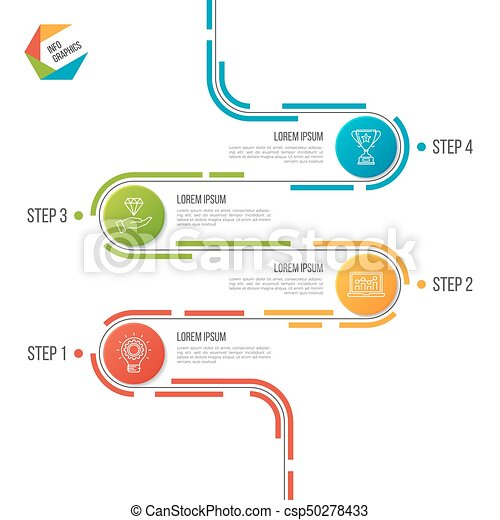 abstract 4 steps road timeline infographic template vector illustration