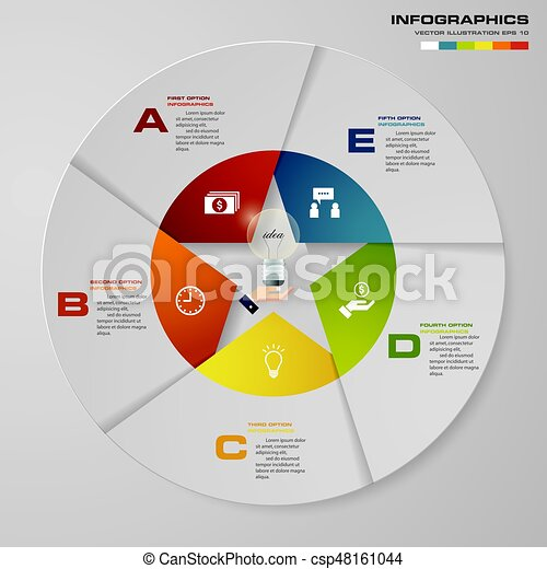 abstract 5 steps modern pie chart infographics elements vector