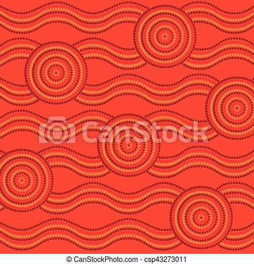 Abstract Aboriginal dot painting in vector format. - csp43273011