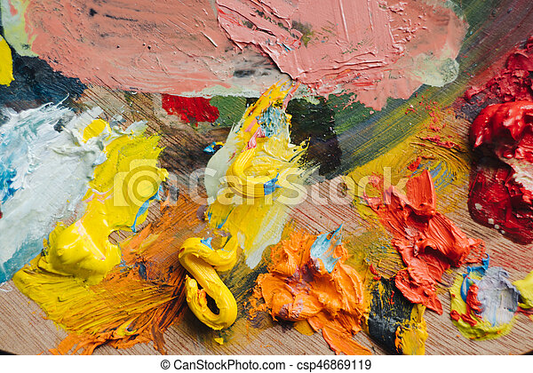 Abstract acrylic hand painted background - csp46869119
