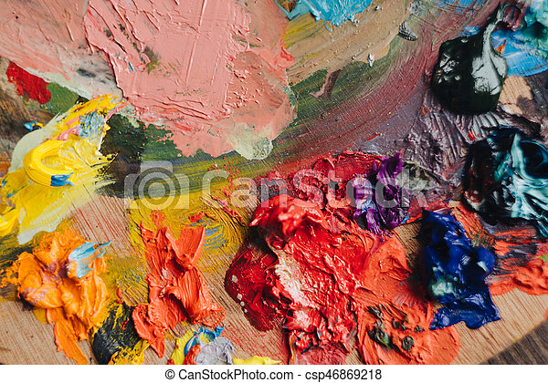 Abstract acrylic hand painted background - csp46869218