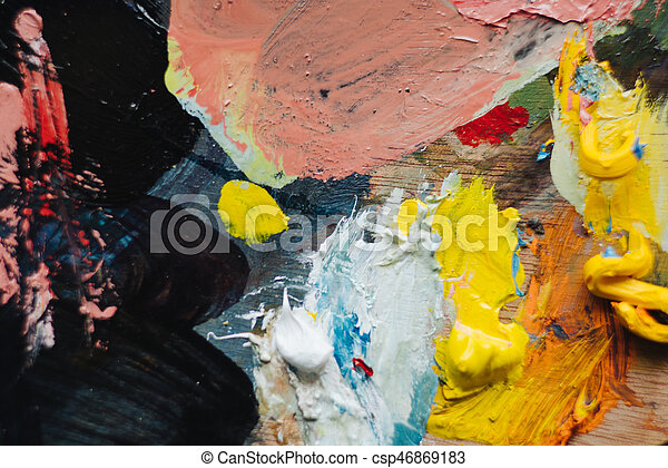 Abstract acrylic hand painted background - csp46869183