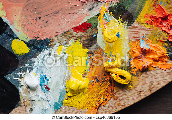 Abstract acrylic hand painted background - csp46869155