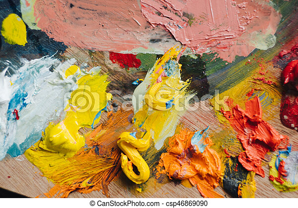 Abstract acrylic hand painted background - csp46869090