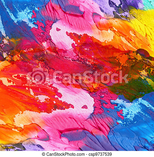 Abstract acrylic hand painted background - csp9737539