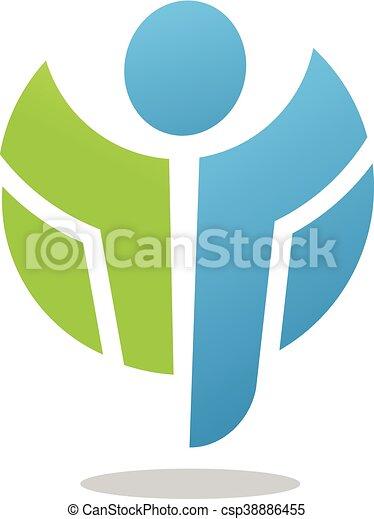 abstract active figure logo - csp38886455