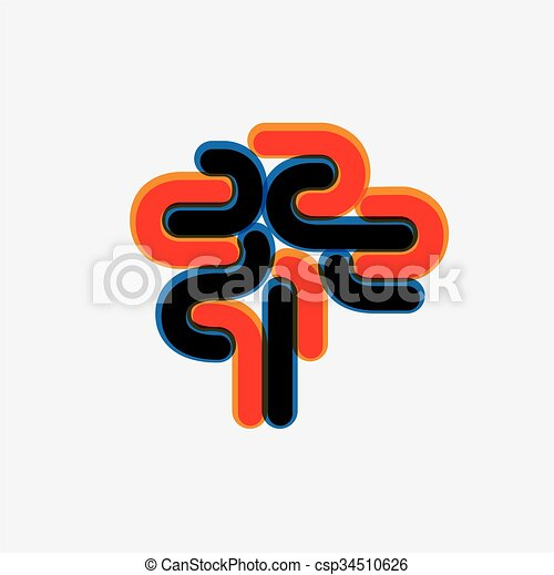 abstract and colorful human brain vector graphic icon - csp34510626