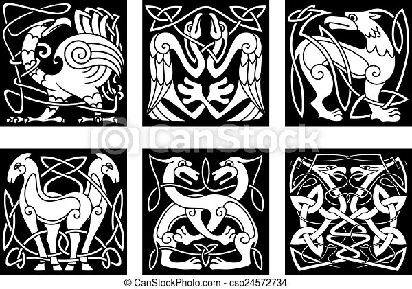 Line Art Animals Tattoo : Abstract animals and birds in celtic style