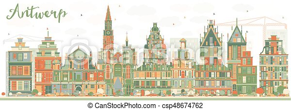 Abstract Antwerp Skyline with Color Buildings. - csp48674762