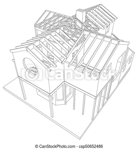 abstract architectural 3d drawing of apartment house vector created of 3d - 3d Drawing Of House