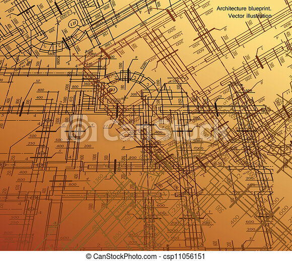 Abstract architectural gold background. Vector - csp11056151