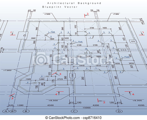 Abstract architecture background:  house plan. Vector - csp8716410