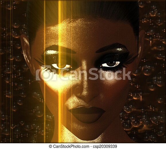 Abstract art of woman's face. - csp20309339