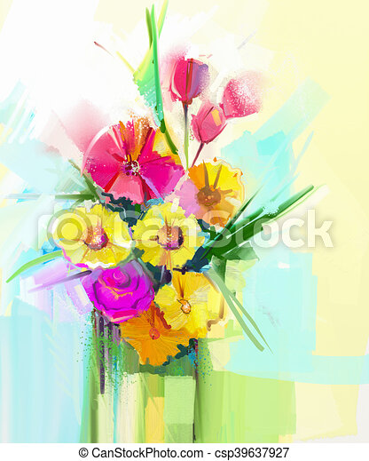 Abstract art oil painting of spring flower artistic still life of abstract art oil painting of spring flower csp39637927 mightylinksfo
