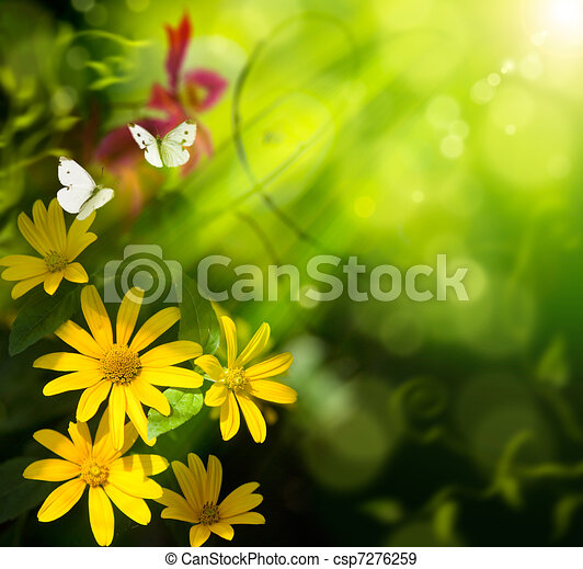 Abstract art summer background. Flower and butterfly - csp7276259