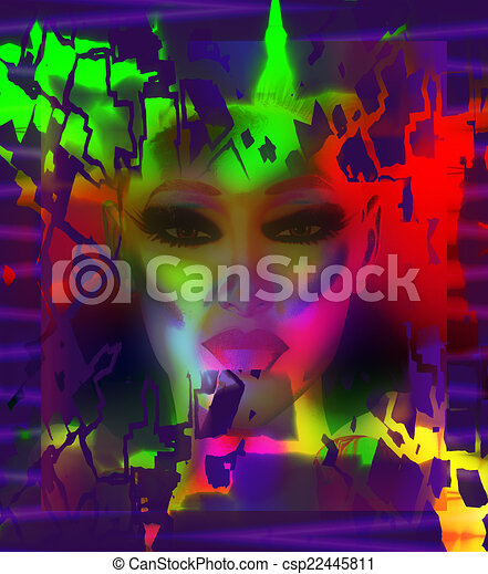 Abstract art, woman's face - csp22445811