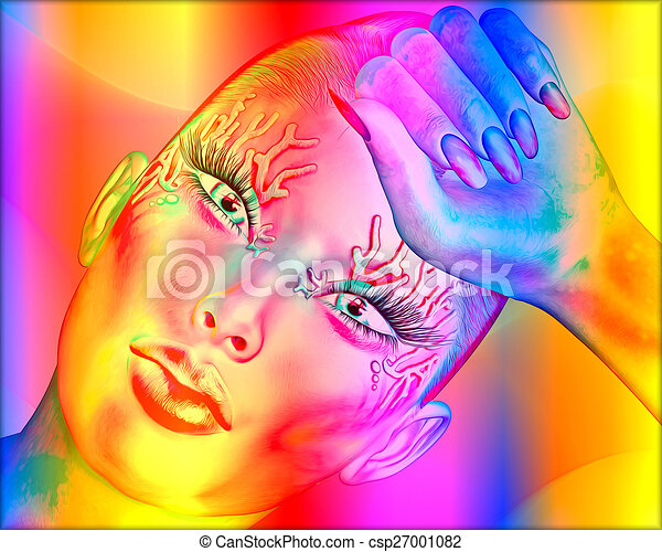 Abstract art, woman's face - csp27001082