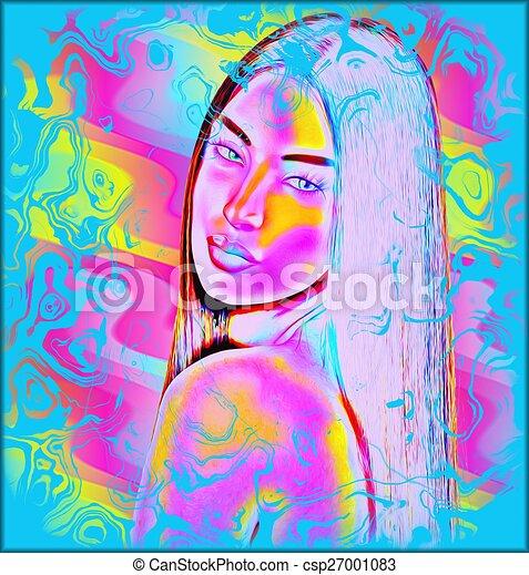 Abstract art, woman's face - csp27001083