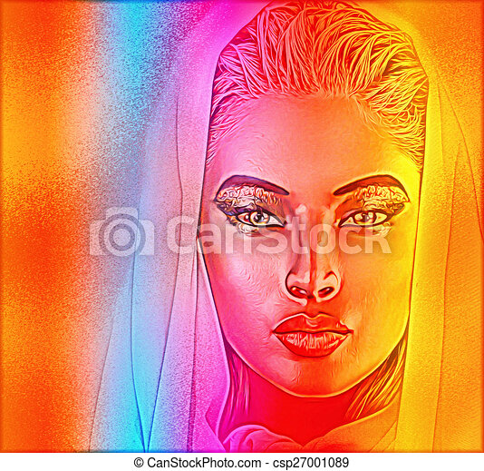Abstract art, woman's face - csp27001089