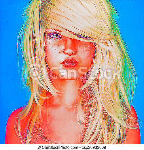 Abstract art, woman's face - csp38933069