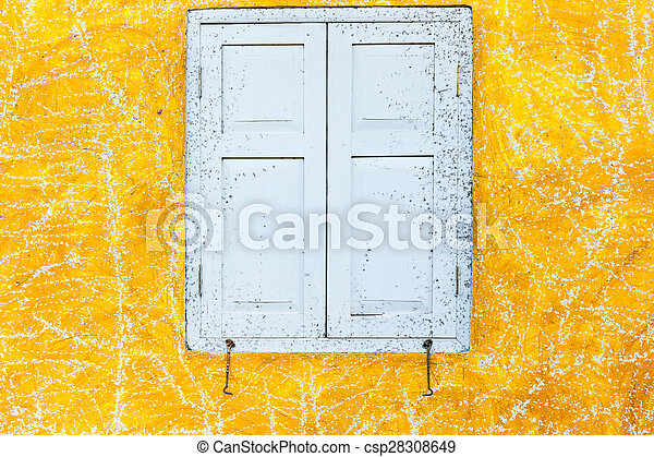 Abstract art yellow cement wall texture background - csp28308649
