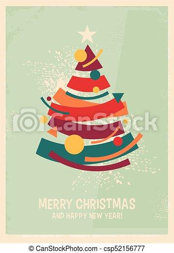 Abstract artistic Memphis style Christmas card design - csp52156777