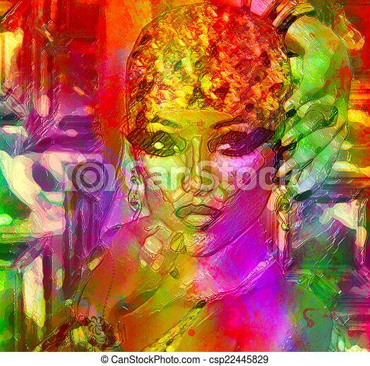 Abstract art,womans face gel effect - csp22445829