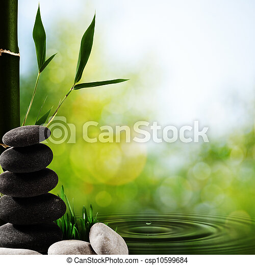 Abstract asian spa backgrounds with bamboo and pebble - csp10599684
